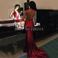 Red Sequined Mermiad Prom Dresses Long 2017 Cheap Robe De Bal Sexy Backless V Neck Halter Evening Party Dress Vestido De Festa