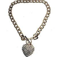 """Gold Plated Chunky 3D Heart with Lab Diamonds Pendant Chunky Link 20"""" Necklace 4mm Chain w/Heart Shape Earring Set"""
