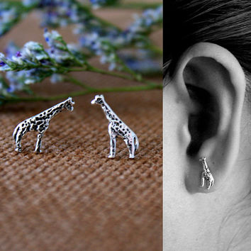 Tiny Silver Giraffe Earrings, Sterling Silver Children's Jewelry, Animal Jewelry, nature studs, giraffe stud earrings, Gift for her