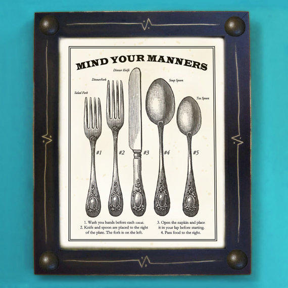 Kitchen Art Print Mind Your Manners Black and White by by DexMex
