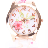 Pink Floral Print Rubber Strap High Polish Trim Round Face Watch