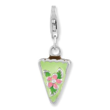 925 Sterling Silver Rhodium Plated Enameled Green Mint Cake with Lobster Clasp Cha