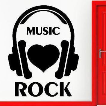 Wall Stickers Vinyl Decal I Love Rock Music Headphones Rock`n`Roll Decor Unique Gift (z2358)