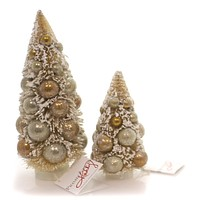 Christmas Sisal Tree Gold Balls Village Trees