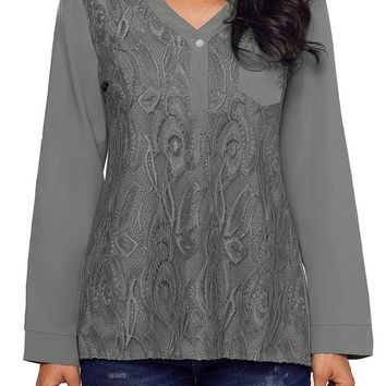 Fashion Gray Lace Panel Split Neck Roll Tab Sleeve Blouse
