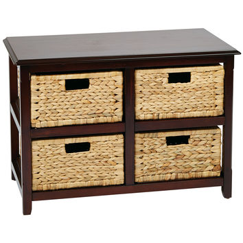 OSP Designs Seabrook Two-Tier Storage Unit With Espresso Finish and Natural Baskets