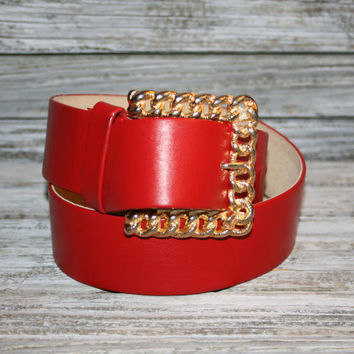 Womens Vintage Red Belt Genuine Leather Gold Chain Buckle 80s 1980s Fashion Belt Accessories by Pearl