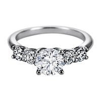 Engagement Ring - Five Stone Round Diamond Trellis Engagement Ring, 0.60 tcw - ES1079