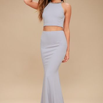 Shining Example Blue Grey Rhinestone Two-Piece Maxi Dress