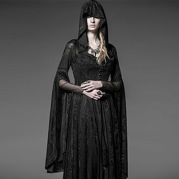 Steampunk Gothic Women Hooded Lace Knit Dress Vintage Medieval Witch Cloak Dresses Full Flare Sleeve Halloween Costume Dress