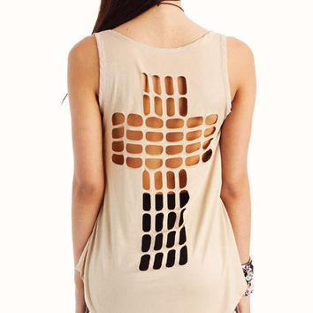 cut-out-cross-tank BLACK CORAL RUST TAUPE - GoJane.com