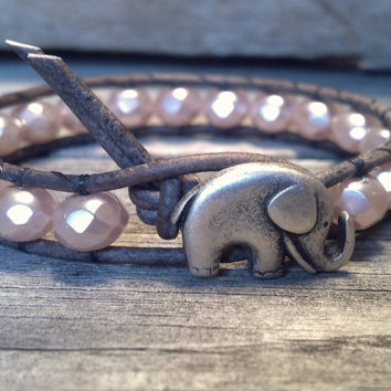 Pink Czech Glass Bracelet, Good Luck Elephant, Beaded Leather Wrap, Shabby Chic, Mothers Day Gift