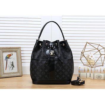 LV Louis Vuitton Newest Retro Women Leather Shoulder Bag Handbag Crossbody Satchel Black