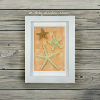 Starfish Wall Art in Tropical Orange.  Woven Paper Beach Decor. Beach Bedroom.  Handmade One of a Kind