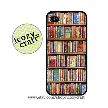 iphone 4 case, iphone 5 case, iphone 4s case - ,book , bookshelf ,library ,vintage iphone case cover -100