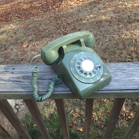 1970s Vintage Rotary Dial Telephone in Pretty Olive Green by ITT, Bell System, Western Electric, 1970 Color, Vintage Phone, 1970s Technology