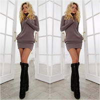 Spring Fall Casual Long Sleeves Package Hip Long Sweater