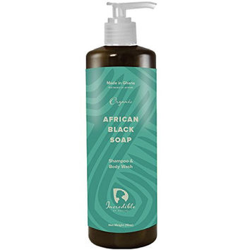 #1 Best Liquid African Black Soap Shampoo & Body Wash 16oz Raw Organic Anti-Acne Cleanser & for Dandruff, Dry Skin, Burns and Rashes With Moisturizing Shea Butter - Incredible By Nature