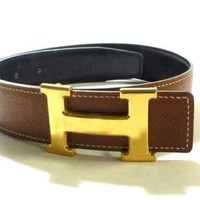 Auth HERMES Brown Gold Leather Hardware H Belt Square A #65