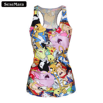 SexeMara Adventure Time Colorful Cartoon Role Printed Fitness Casual Women T-shirt Blusa Camisole Summer Sport Tank Top X-145