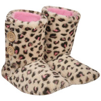 Florence 2 Button Leopard Slipper Boot in Brown