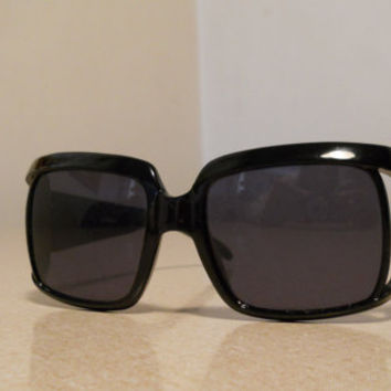 Square Sunglasses Black Framed Vintage 60s Women's