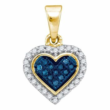 10kt Yellow Gold Women's Round Blue Color Enhanced Diamond Cluster Small Heart Pendant 1-8 Cttw - FREE Shipping (US/CAN)