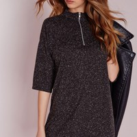 Missguided - Zip High Neck Midi Bodycon Dress Speckled Grey