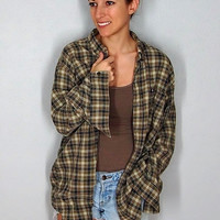 Vintage Flannel, Plaid Button Up 90s Grunge Brown Gray 100% Cotton Comfy Oversize