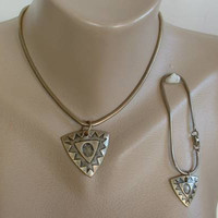 Coro snake chain  bracelet made into NA Indian Necklace set