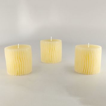Strongest Minds 3-piece Jasmine Textured Color-Changing Pillar Candle Set (White)