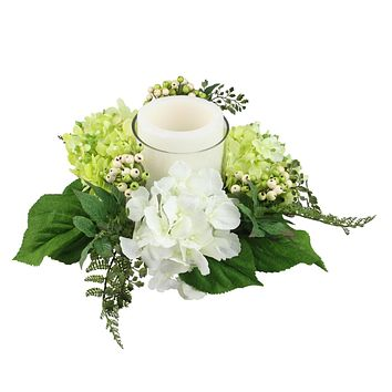 "16"" Decorative Artificial Cream White and Green Hydrangea and Berry Hurricane Glass Candle Holder"