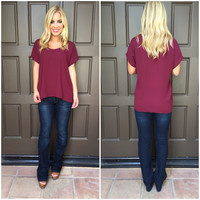 Caralynn Short Sleeve Blouse - BURGUNDY
