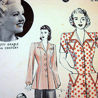 BETTY GRABLE Hollywood 1940s Dress Pattern  Misses size 12 WWII 40s Swing Dress Pattern