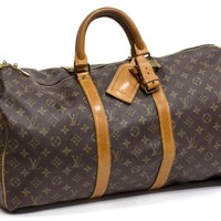 Auth LOUIS VUITTON Monogram Keepall 50 Duffle Travel Bag / Made in France