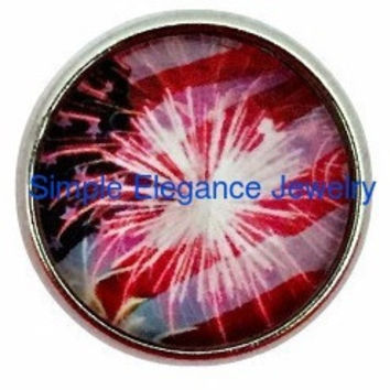 4th of July Fireworks Snap 20mm for Snap Jewelry