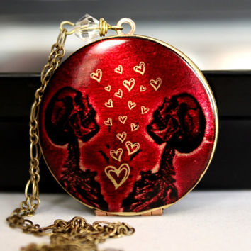 Valentines Day Gift For Her, Red Skeleton Locket with Hearts, Round Brass Image Photo Locket