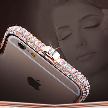 7 Plus Luxury Aluminum Frame Phone Cases For iPhone 7 6 6s Plus SE 5s 5 Case Fashion Bling Diamond Rhinestone Crown Metal Bumper