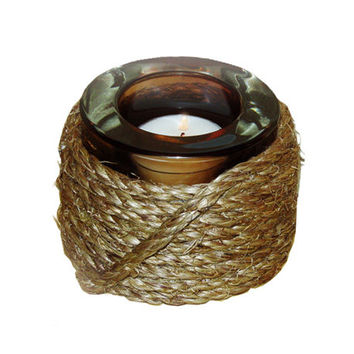 Tea Light Holder, Twine Handmade with Thick Brown Glass with Rustic Twine Base, Country Western Decor, Includes 8 Scented Tea Lights