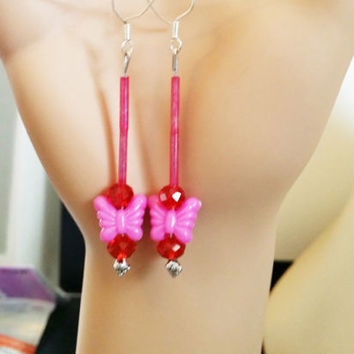 pink and red butterfly earrings bead drop long dangles beaded glass plastic bead