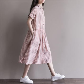Summer Dress Cotton Linen Loose Dress A Line Plaid Print Turn Down Collar Short Sleeve Women Dress Plus Size Women Clothing