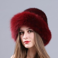 Real Fur Hat Winter For Women's Natural Mink Fur With Fox Fur Hat Caps Luxury Brand Trendy New Solid Russian Sun Knitting Hats
