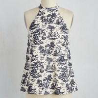 Nautical Mid-length Sleeveless A-line Treat Your Delft Top