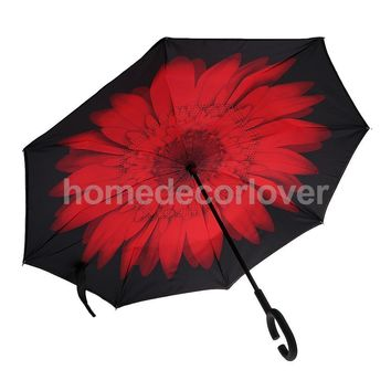 Windproof Reverse Folding Sun Rain Inverted Umbrella UV Protection C-shape Handle Red Flower for Beach Outddor Parts