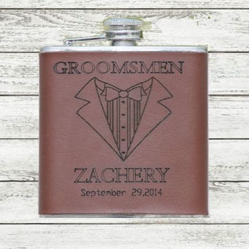SALE Personalized Groomsmen Engraved Tuxedo Leather Flask  Customize for Father of Bride or Groom,  Best Man