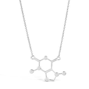 Silver Caffeine Molecule Necklace