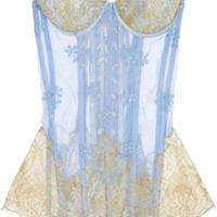Rosamosario | Principessa Flirts embroidered tulle and lace corset  | NET-A-PORTER.COM