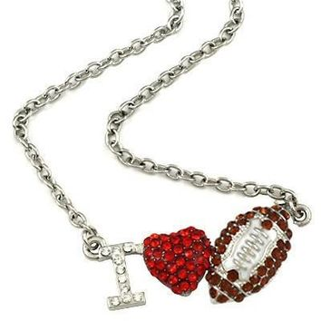 "*Silvertone Bling ""I Heart Football"" Necklace- Brown"