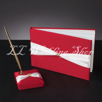 Free shipping,Set of 2pcs New style Red&White Bow Wedding Guest Book &Pen Holder Set Wedding Party Decorations SWD07