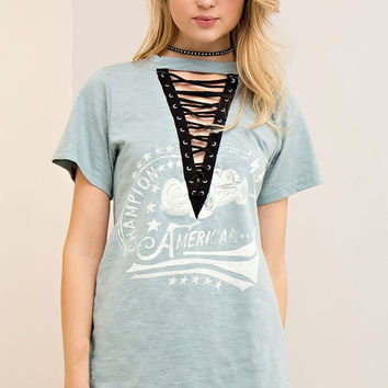 Not A Drill Lace Up Top - Dusty Blue RESTOCK